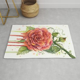 Red Rose Dripping Watercolor Flower Rug