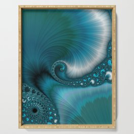 Turquoise Blue Abstract Ocean Wave Turquoise Blue Serving Tray