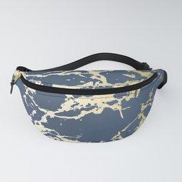 Kintsugi Ceramic Gold on Indigo Blue Fanny Pack