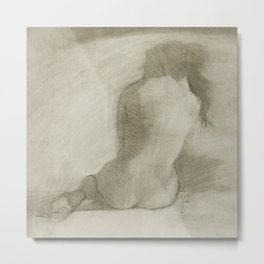 Charcoal Female Nude Drawing Sitting Woman Back View Metal Print