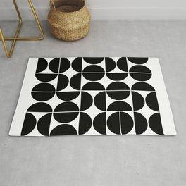 Mid Century Modern Geometric 04 Black Rug