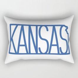 State of Kansas Typography - Blue Rectangular Pillow