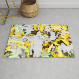 splash painting texture abstract background in yellow black green Rug
