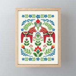 Swedish Dala Horses Red Framed Mini Art Print