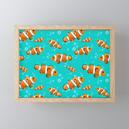 Tropical Clownfish Pattern Framed Mini Art Print