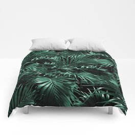 Tropical Palm Leaf Jungle Night #1 #tropical #decor #art #society6 Comforters