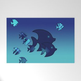 Nine Blue Fish with Patterns Welcome Mat