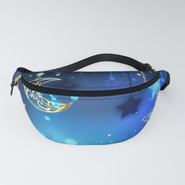 Gold Crescent on Blue Background Fanny Pack