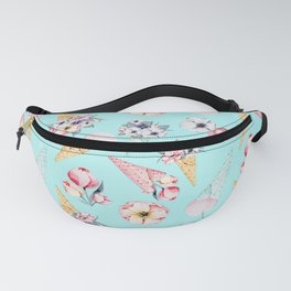 Pink & Teal Summer Fun Flower Ice Cream Cone - Pattern Fanny Pack