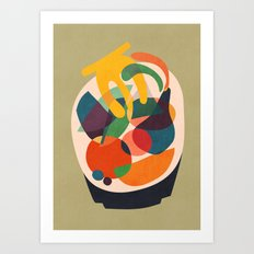 Fruits in wooden bowl Art Print