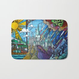 Hogwarts stained glass style Bath Mat