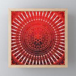 Red Flower Mandala Framed Mini Art Print
