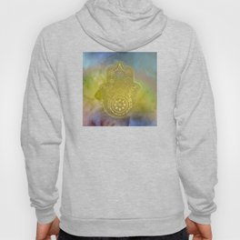 Colorful Watercolor And Gold Hamsa Hand Hoody
