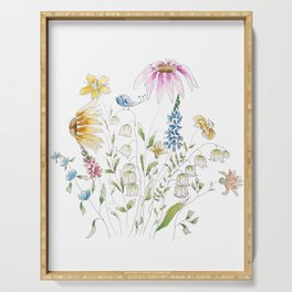 wild flowers and blue bird _ink and watercolor 1 Serving Tray