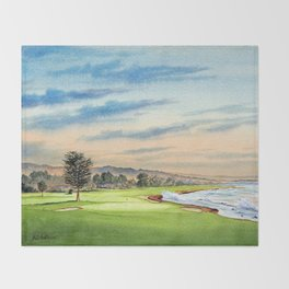 Pebble Beach Golf Course 18th Hole Throw Blanket