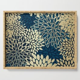 Christmas, Flower Garden, Gold and Navy, Floral Prints Serving Tray