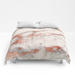 Rose Gold Marble Blush Pink Copper Metallic Foil Comforters