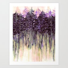 NORTHWEST VIBES Colorful Watercolor Painting Forest Trees Violet Green Modern Nature Art West Coast  Art Print