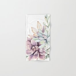 Desert Succulents on White Hand & Bath Towel