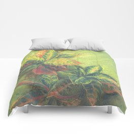 Colorful Leaves on colored paper Comforters