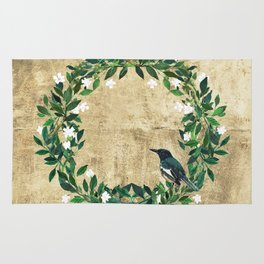 Wreath #White Flowers & Bird #Royal collection Rug