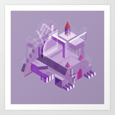 Den of the Headless Lion in Purple and Lavender Art Print