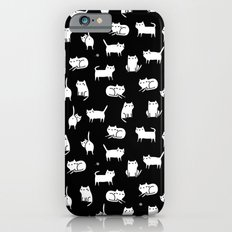 White cats on black Slim Case iPhone 6s