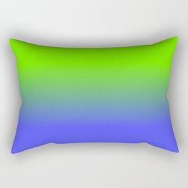 Neon Blue and Neon Green Ombré  Shade Color Fade Rectangular Pillow