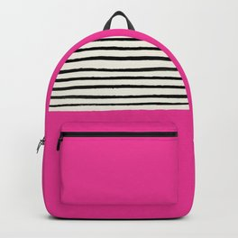 Bright Rose Pink x Stripes Backpack