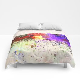 Edinburgh skyline in watercolor background Comforters