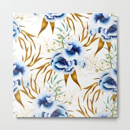 Blue watercolor hand painted anemone flowers with gold leaves Metal Print