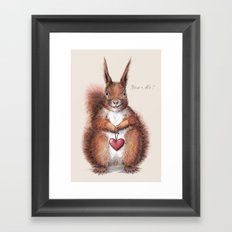 Squirrel heart love Framed Art Print