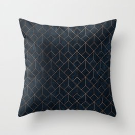 Gold Art deco on Navy ink Throw Pillow
