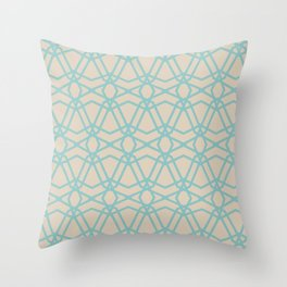 Aqua and Beige Line Geometric Pattern Chains 2021 Color of the Year Aqua Fiesta and Sourdough Throw Pillow
