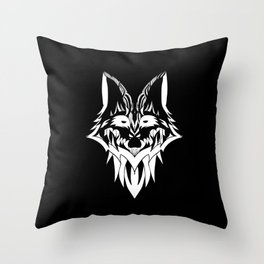 Fox in Black and White Throw Pillow
