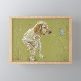 The First Spring Butterfly English Setter Puppy Pastel Drawing on green background Framed Mini Art Print