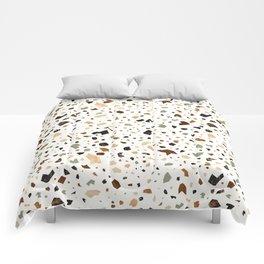 Gold Terrazzo Pattern Fragments Comforters