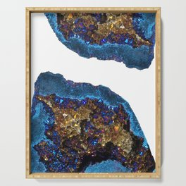 Agate metallic blue & gold Serving Tray