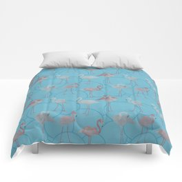 Walk with pink flamingos on bright blue Comforters