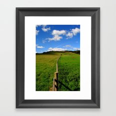 Fence in the field Framed Art Print