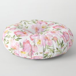 Scandi Pink Hand Drawn Watercolor Spring Flowers  Floor Pillow