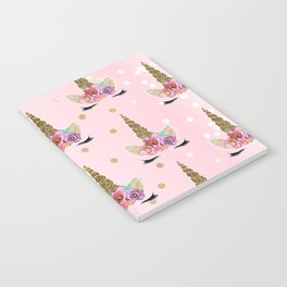 Floral Trendy Modern Unicorn Horn Gold Confetti Notebook