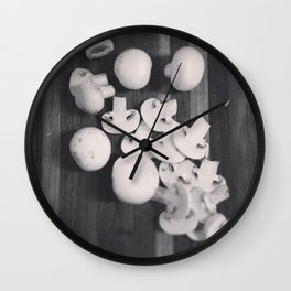 Black And White Sliced Shrooms Wall Clock