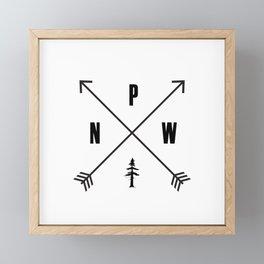 PNW Pacific Northwest Compass - Black on White Minimal Framed Mini Art Print