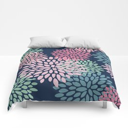Floral Pattern, Navy Blue, Pink, Coral, Green Comforters