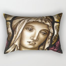 Madonna, pictorial painted stained glass window Rectangular Pillow