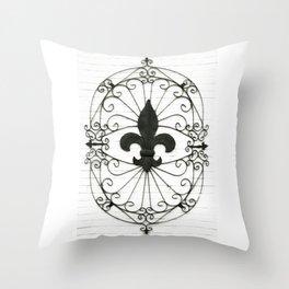 Wrought Iron Fleur de Lis Throw Pillow