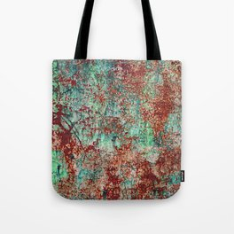 Abstract Rust on Turquoise Painting Tote Bag