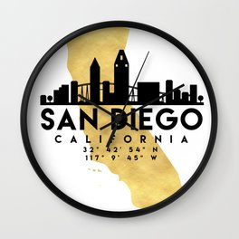 SAN DIEGO CALIFORNIA SILHOUETTE SKYLINE MAP ART Wall Clock