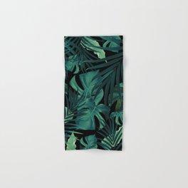 Tropical Jungle Night Leaves Pattern #1 #tropical #decor #art #society6 Hand & Bath Towel